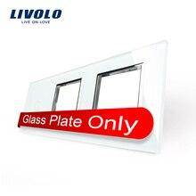 Envío gratis, Livolo White Pearl Crystal glass, 223 mm * 80 mm, estándar de la ue, 1 y 2 Gang marco de cristal del panel, VL-C7-C1 / SR / SR-11