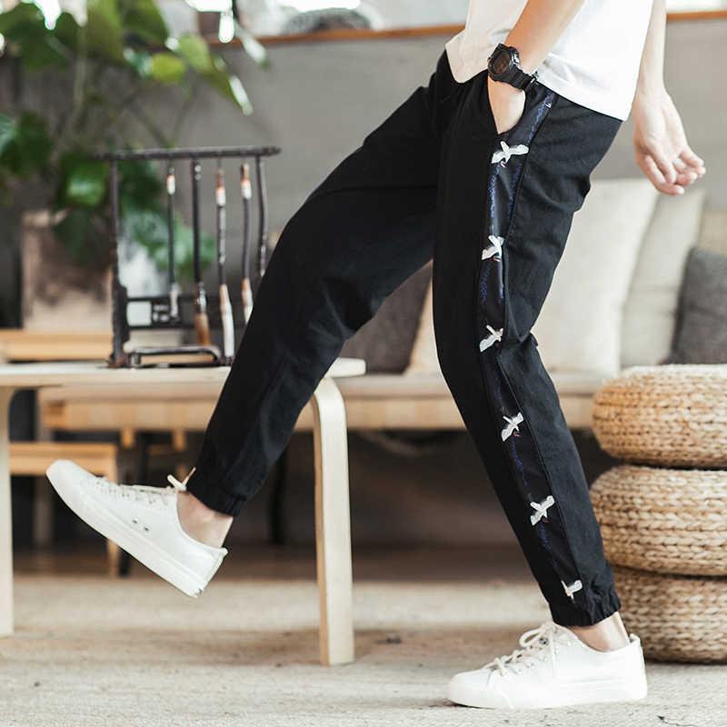 Лето 2019 г. для мужчин брюки для девочек полной длины боковой полосой печатных мужские брюки для бега Спортивная Брюки для фитнес-зала Мужской Винтаж sweatpa