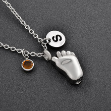 Baby Foot Memorial Jewelry With DIY Charms Memorial Ashes Birthstone Pendant Necklace Harir Ashes Keepsake Lockets(China)