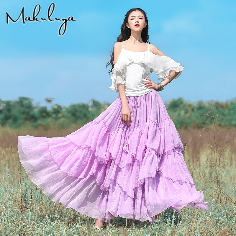 Makuluya Women Holiday Beach  Chiffon Long Ball Gown White Sweet Skirts Female Vintage 2018 High Waist Chiffon Patchwork QW