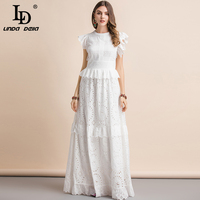 LD LINDA DELLA New Summer Elegant White Maxi Long Dress Women's Ruffles Sleeve Hollow Out Bow tie Peplum Celebrity Party Dress