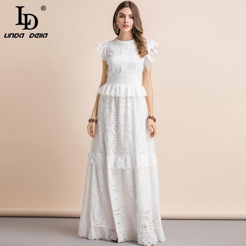 LD LINDA DELLA Elegant White Maxi Dress 2019418