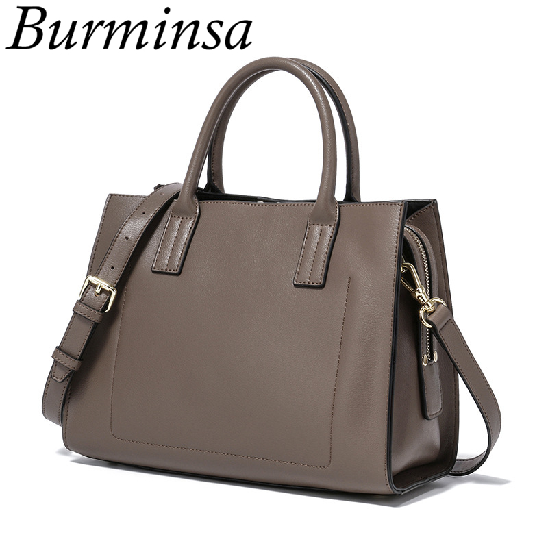 Burminsa Brand Vintage Genuine Leather Bags Female Small Designer Handbags High Quality Ladies Tote Shoulder Bags For Women 2017 high quality iron wire frame sun glasses women retro vintage 51mm round sn2180 men women brand designer lunettes oculos de sol