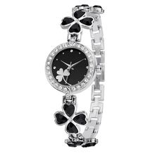 Fashion Ladies Lucky Clover Band Rhinestone Quartz Wristwatch Women Bracelet Watch