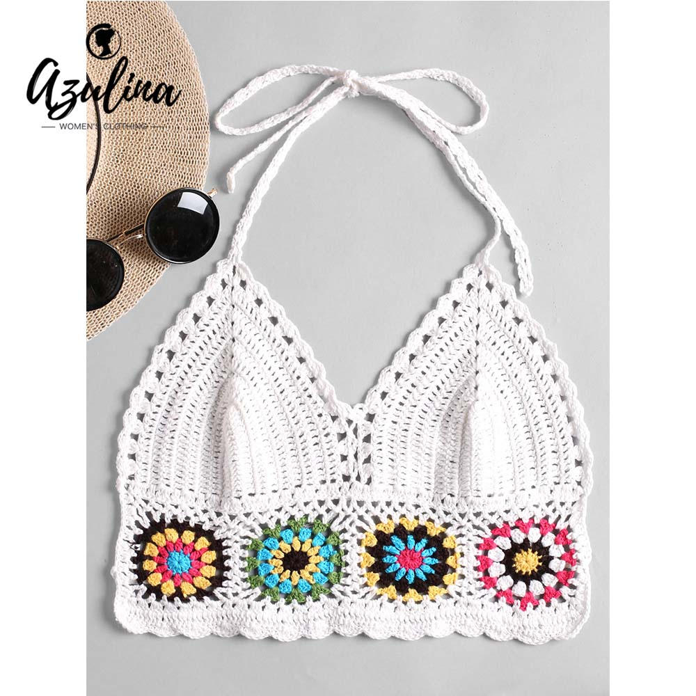 AZULINA Women Tops Halter Crochet Bralette Camis Patchwork Hollow Out Tube Top 2018 New Girl Beach Summer Streetwear Cropped Top