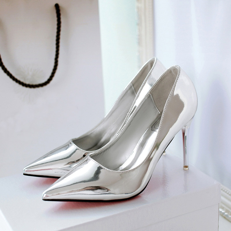 2017 New Spring Summer Fashion Pointed Toe for Women Casual High Heels Slip On Lady Shoe Silvery Simplicity Leisure Mirror Shine new spring summer women flats brand casual women shoes flat heels pu fashion crystal shoe pointed toe soft soles