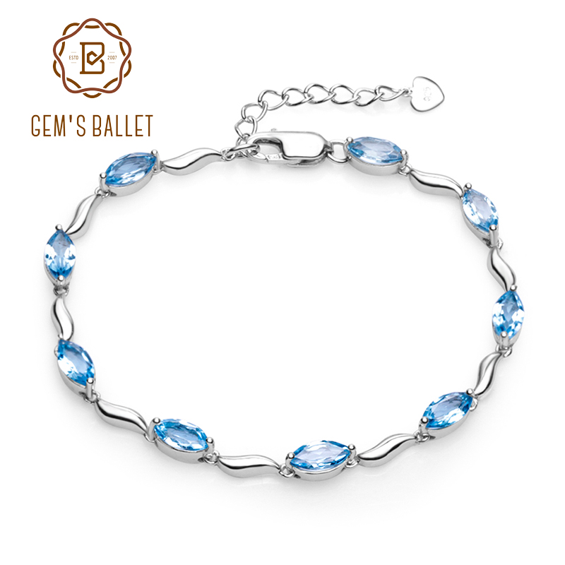 GEM S BALLET Marquise Shape 6 25Ct Natural Swiss Blue Topaz Tennis Bracelet 925 Sterling Silver