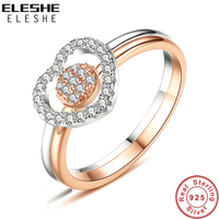 ELESHE Female Cubic Zircon Heart & Round Ring Set Luxury 925 Sterling Silver Ring Wedding Engagement Rose Gold Rings For Women