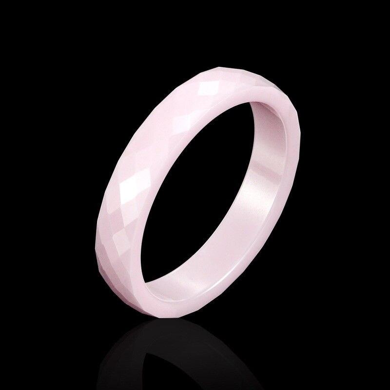 100% QualitäT Neue 4mm Licht Rosa Schwarz Weiß Schöne Hand Cut Keramik Ring Für Frau Top Qualität Schmuck Ohne Kratzer Frau Ring Duftendes (In) Aroma