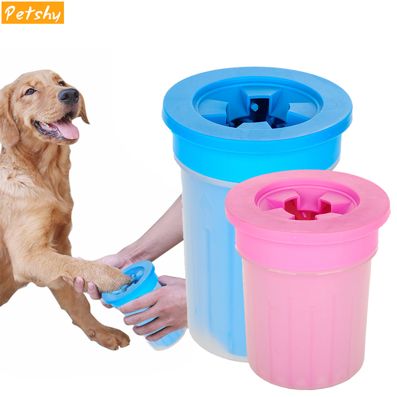 Petshy 2018 New Pet Paw Washer Cup Dog Foot Wash Tools Soft Gentle Silicone Bristles Pet