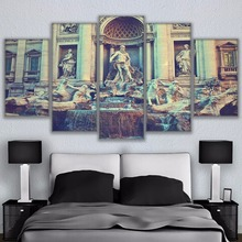 Modern Canvas Paintings Living Room Wall Art Frame HD Prints 5 Piece Fontana di Trevi Poster Home Decor Fountain Pictures PENGDA