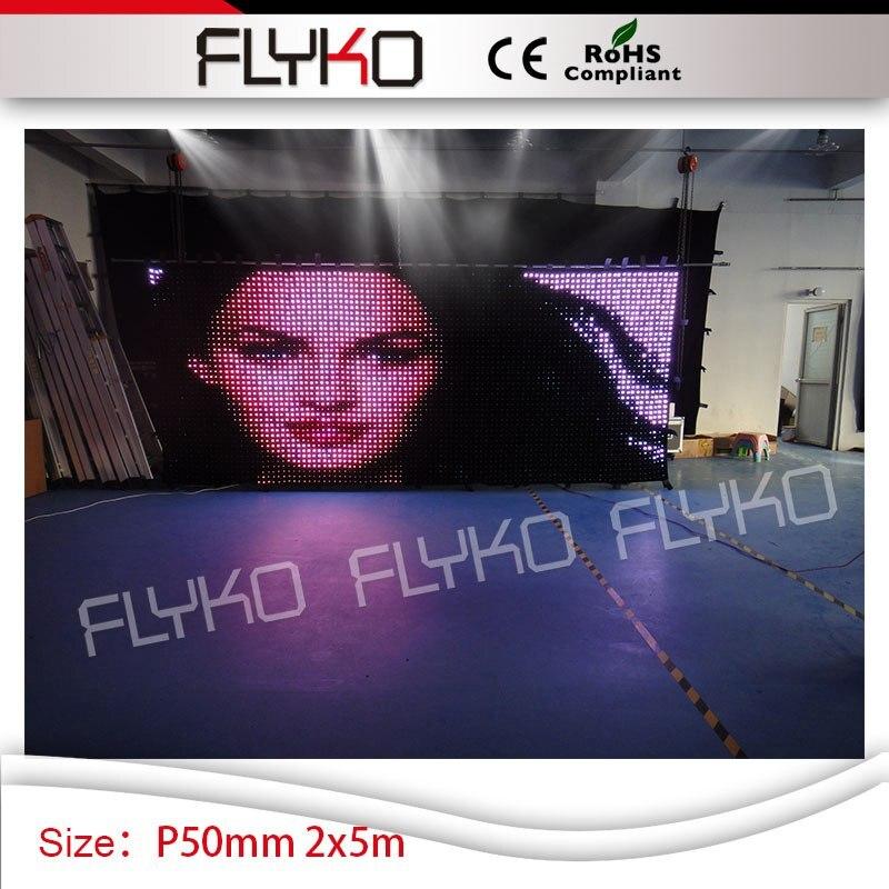 Haute définition 2*5 m stade vision lumière LED rideau P50mm taille personnalisée scène décoration d'intérieur pour fête de mariage