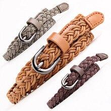Fashion Soft Woven Belt Vintage Wax Rope U-shaped Metal Buckle  Waist For Girls Ladies Women Belts