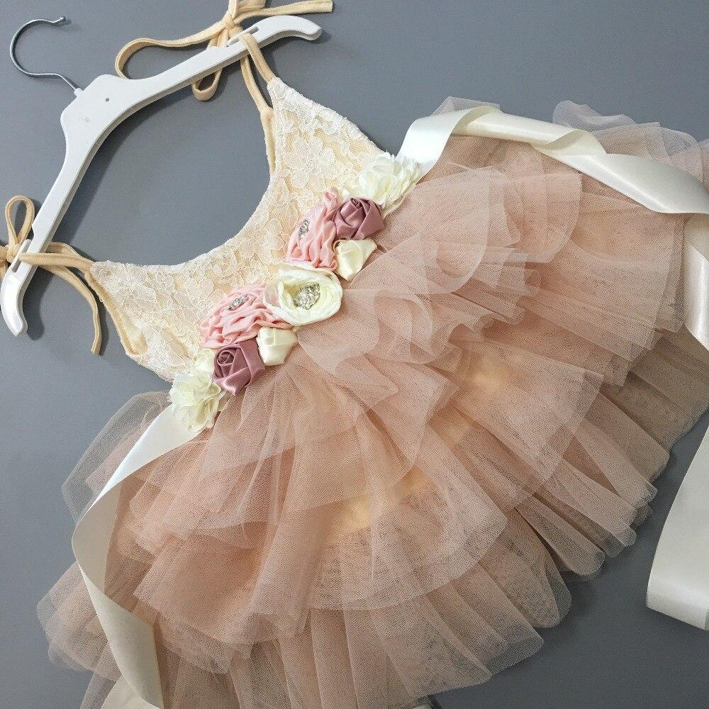 Beautiful flower girls wedding dress children party tutu gown for kids children flowers sashes princess sling summer dress 1