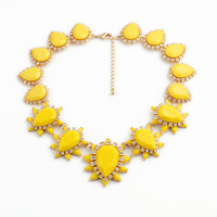 Fashion Teardrop Fringe Chunky Statement Bubble Necklace Yellow Red Faceted Stone Pave Bib Necklace Holiday