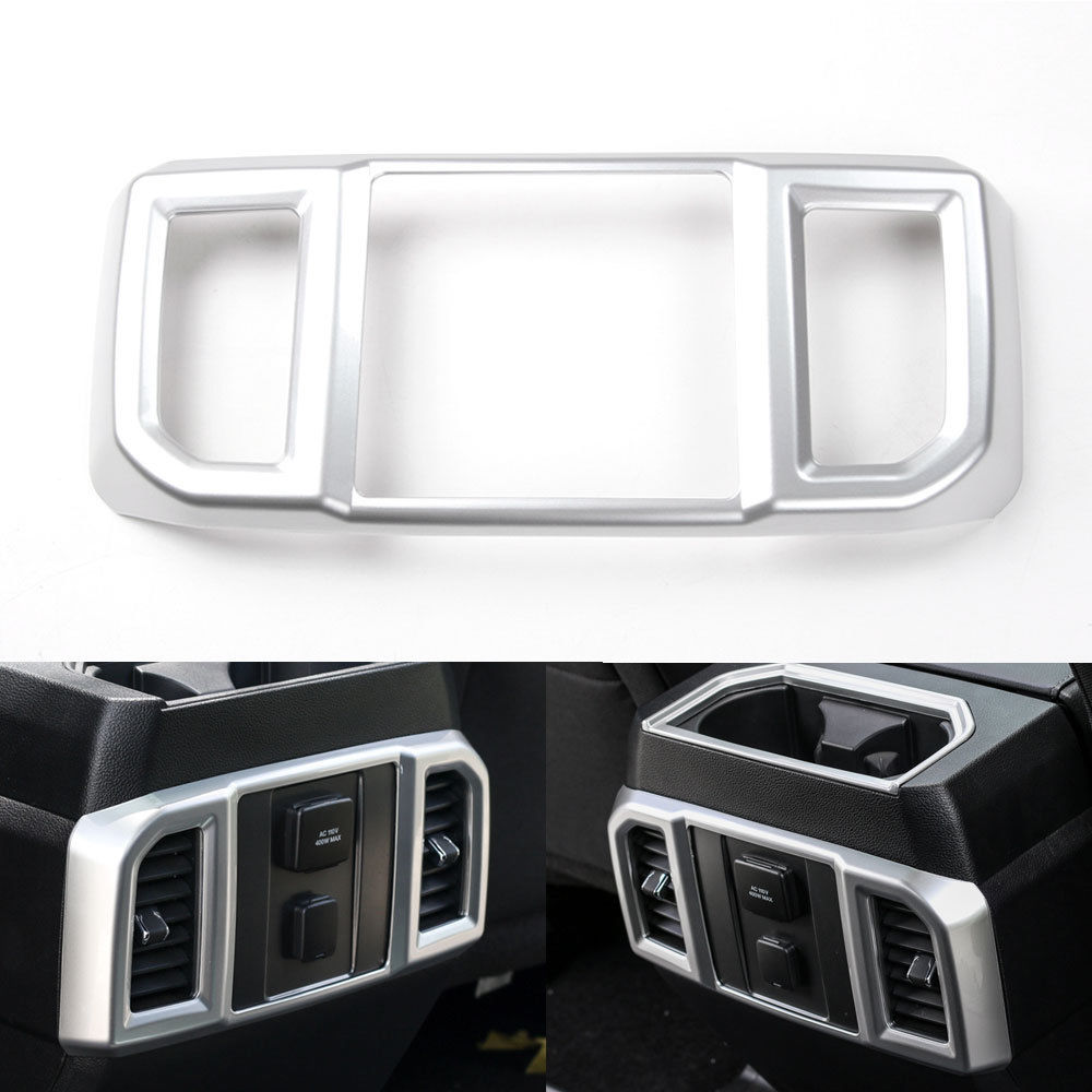 BBQ@FUKA For Ford F150 2016 2017 Car Rear Air Vent Outlet Panel Frame Cover Trim 1Pcs Silver ABS Car styling inner sticker цена