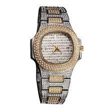 Мода Diamond для мужчин часы Автоматическая Дата кварцевые часы золотые нержавеющая сталь деловые мужские часы лучший бренд класса люкс новый 2019