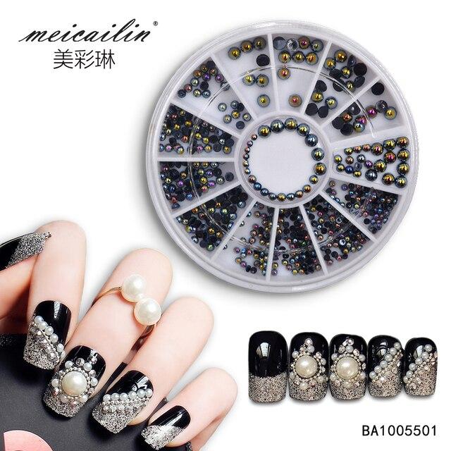 Meicailin 3D Nail Art Décorations AB Noir Perle Strass Design Pour Ongles  Accessoires D\u0027art