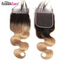 FASHION LADY Pre-Colored 100% Human Hair 4x4inch Indian Closure T1B/27 Ombre Body Wave Lace Closure Non-Remy