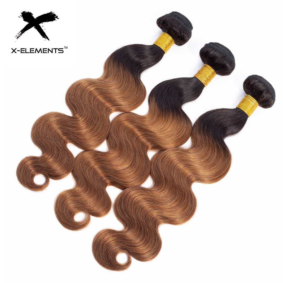 X-Elements Ombre Brazilian Body Wave Hair Bundles T1B Red T1B 30 T1B Burgundy Ombre Human Hair Extensions Two Tones Hair Weave Bundles (1)