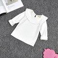 Crianças meninas t shirt branco amarelo manga longa peter pan colarinho plissado sólida camiseta baby girl crianças roupas assentamento topos