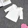 children girls t shirt white yellow long sleeve peter pan collar ruffle solid baby girl t shirt kids clothings bottoming  tops
