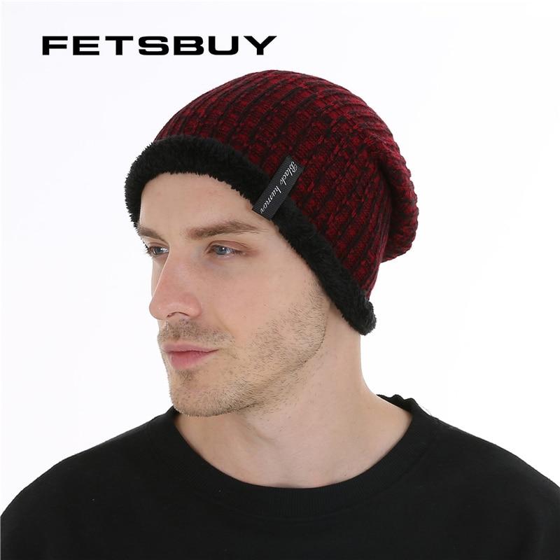 FETSBUY Autumn And Winter Bonnets Hat For Men Women Knitted Plaid Beanies Skullies Keep Warm Add Velvet Caps Men Bonnet #19005