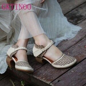 Couro genuíno sandálias femininas bordados sapatos de verão 6 cm salto alto retro artesanal sapatos femininos 2020 oco para fora sandálias venda