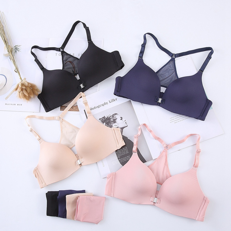Sexy Summer Front Closure Push Up Bras Lingerie Sexy Ladies Lace Mesh Beauty Back Bras Set in Bra Brief Sets from Underwear Sleepwears