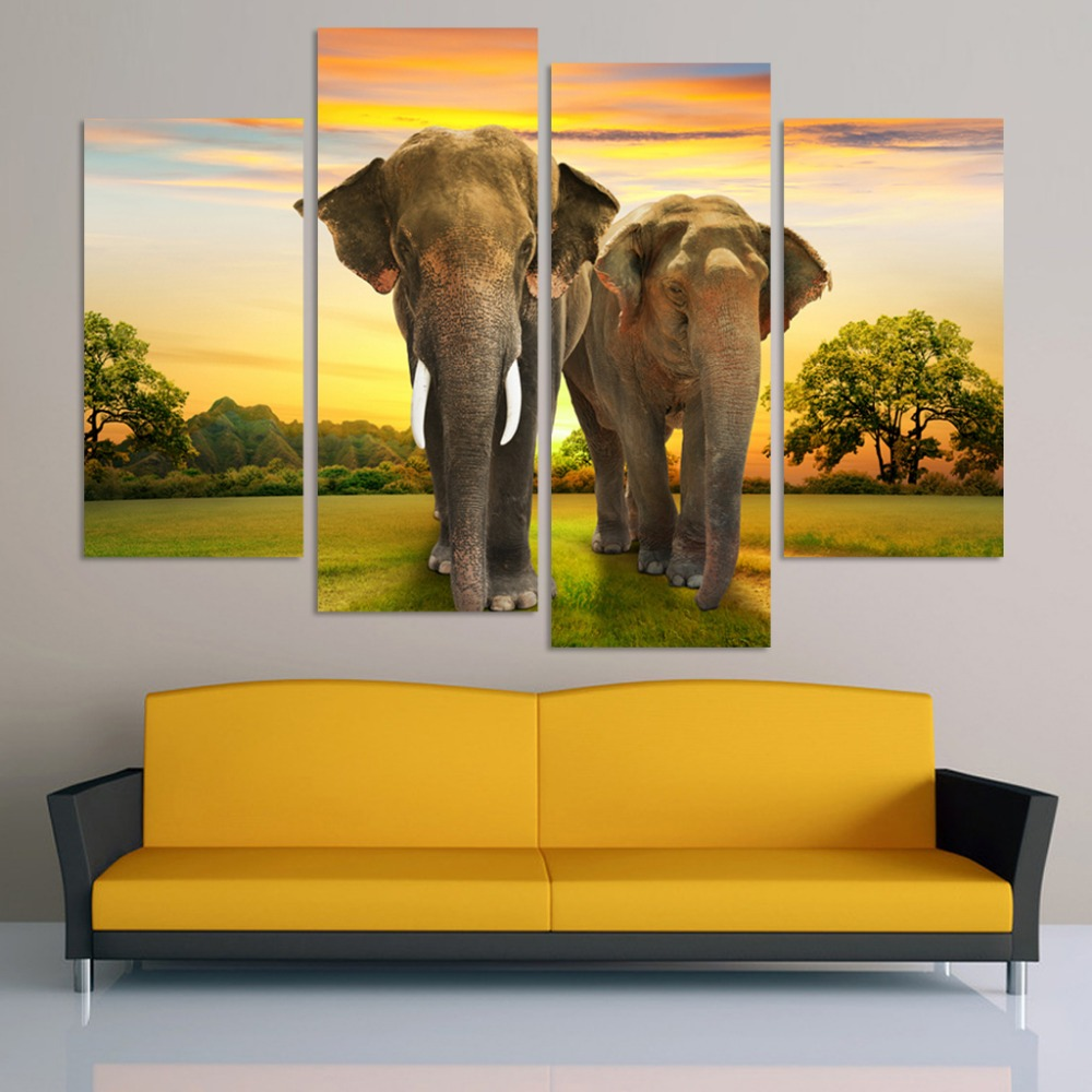 4 panel HD Printed modular canvas painting elephants canvas print ...