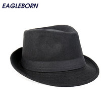 Free Shipping Wide Brim men Fedora Hats Jazz Caps flat top hat gorras casquette Brief Style hat chapeu cheap Fedoras Solid EAGLEBORN Polyester Cotton Adult Casual HDE-001 wool autumn winter spring