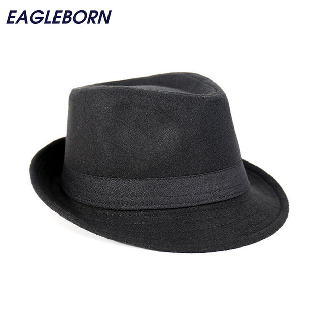 Free Shipping Wide Brim men Fedora Hats Jazz Caps flat top hat gorras  casquette Brief Style hat chapeu 12195aa15f7