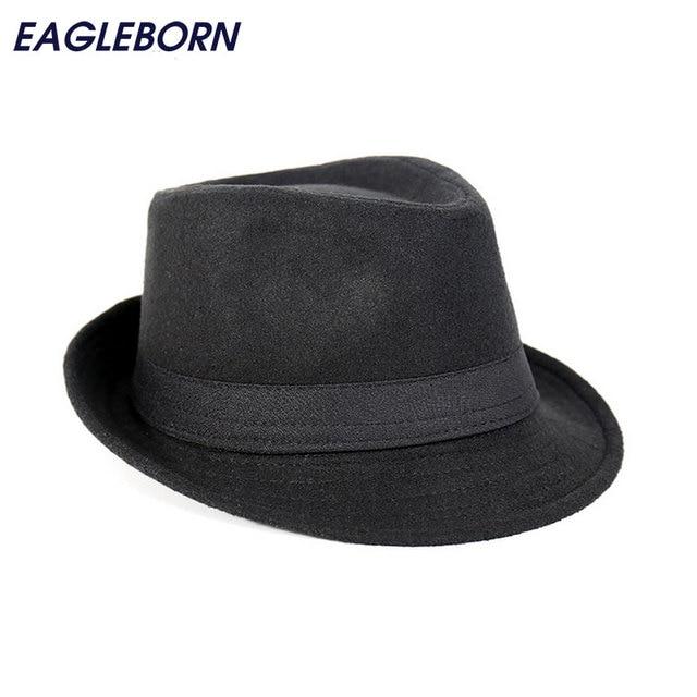 Free Shipping Wide Brim men Fedora Hats Jazz Caps flat top hat gorras  casquette Brief Style 313db230730