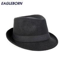 a2a9cda738947 Envío gratis de ala ancha de los hombres Fedora sombreros Jazz tapas plana sombrero  gorras Gorra