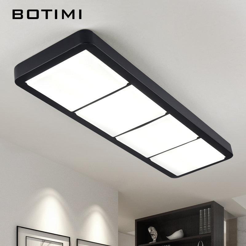 BOTIMI Modern Metal LED Black Ceiling Lights Square Rectangular Bedroom Lamp With Dimmable Remote For Corridor Living Room select a vision sport readers with rectangular lens black
