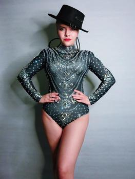 Women Singer Outfit Stage Wear Birthday Celebrate Bar Nightclub Outfit Rhinestones Long Sleeves Bodysuit Festival Clothing