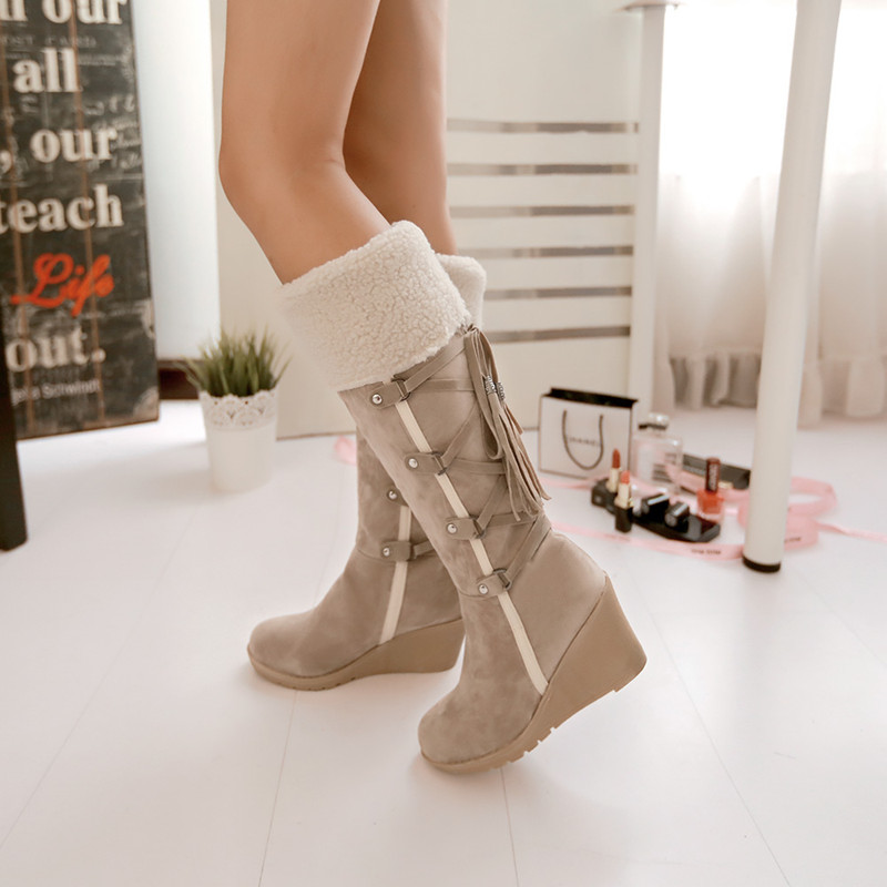 цены  Fashion Scrub Plush Snow Boots Women Wedges Knee-high Slip-resistant Boots Thermal Female Cotton-padded Shoes Warm Plus Size 43