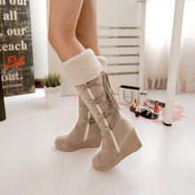 Fashion Scrub Plush Snow Boots Women Wedges Knee-high Slip-resistant Boots Thermal Female Cotton-padded Shoes Warm Plus Size 43