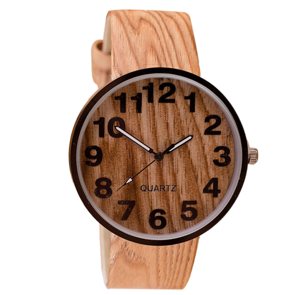 Reloj Mujer Women Bracelet Wrist Watch Women Watches Fashion Wood Grain Leather Luxury Ladies Quartz Watch Clock Relogio #B