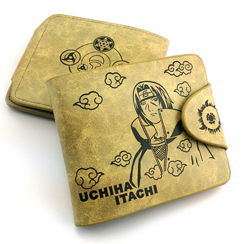 Anime Naruto Wallet Uchiha Itachi Sharingan Print Leather Women Men Purse Short Style Card Holder Purses Carteras Money Bag japan anime naruto cartoon cosplay wallet women men wallet card short coin bifold purse