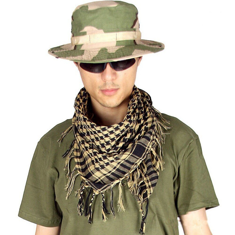 Military Scarves Shemagh Palestine Islamic Multifunction Tactical Cotton Head Scarf Square Arabic Keffiyeh Wrap Bandana Sq303