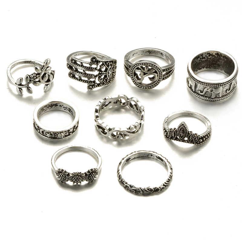 Docona Boho ดอกไม้ช้าง MIDI ชุดแหวนสำหรับผู้หญิง Punk Hollow OUT Sliver Knuckle แหวนเครื่องประดับของขวัญ 9 ชิ้น/เซ็ต 4618