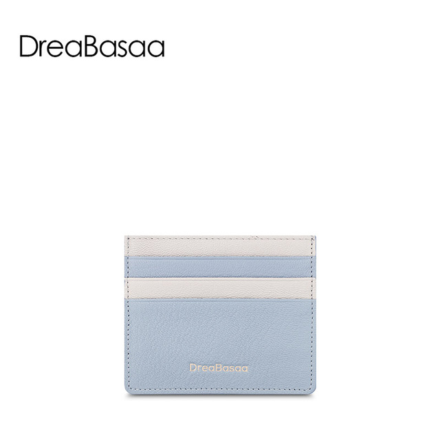 DreaBasaa Ultra-thin Card Holder Mini wallets small Genuine Leather purse Sheepskin Card Case With 6 Slots Fashion Style New