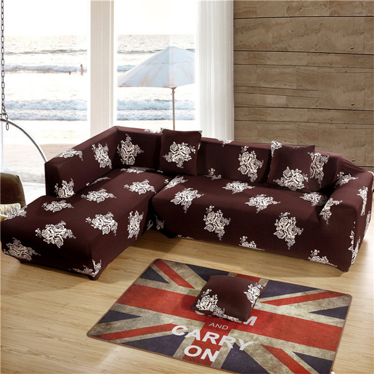 Elegant SunnyRain Brown Polyester Elastic Sofa Cover Printed Floral Sofa Cover For Sectional  Sofa Couch Cover Machine Washable In Sofa Cover From Home U0026 Garden On ...