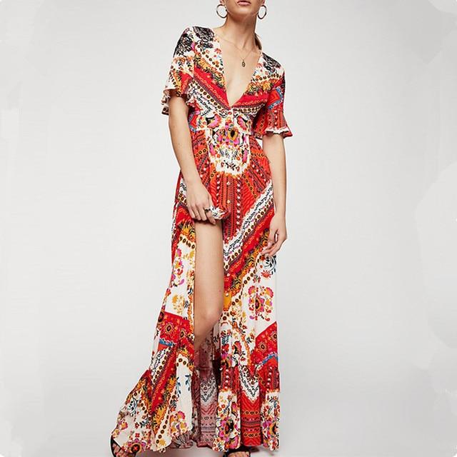 fbff9cd7517 2018 casual maxi dress summer women Party Dresses Long Elegant gala print  plus size desigual elbise tunic female beach clothes