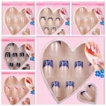 24 x Design False Nails  French Full Nail Art display faux ongles Tips free glue