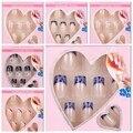 24 x Design False Nails  French Full Nail Art display faux ongles Tips free glue