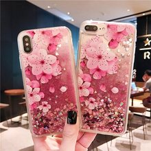 Quicksand Flowers Phone Case For iphone Xs XR XS Max Bling Glitter Dynamic Liquid Hard 6 6s 7 8 plus Back Cover