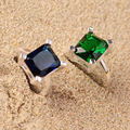 Danki 2.2ct Created Emerald Ring Classic Proposal Silver Solitaire Ring Princess Cut Created Sapphire Gems Engagement Ring Gift