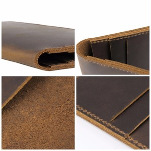 Image 5 - Moterm Crazy Horse Leather Long Wallets Genuine Leather Bifold Men Wallet Vintage Male Purse  carteira feminina Free shipping